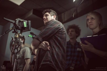 Director Stewart Sparke on the set of 'Book of Monsters'