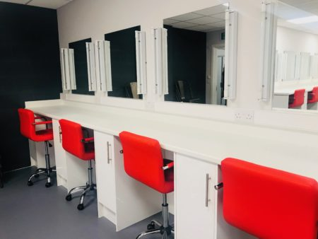 Leeds City College hair and make-up station at Prime Studios