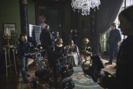 crew on set on Victoria for ITV