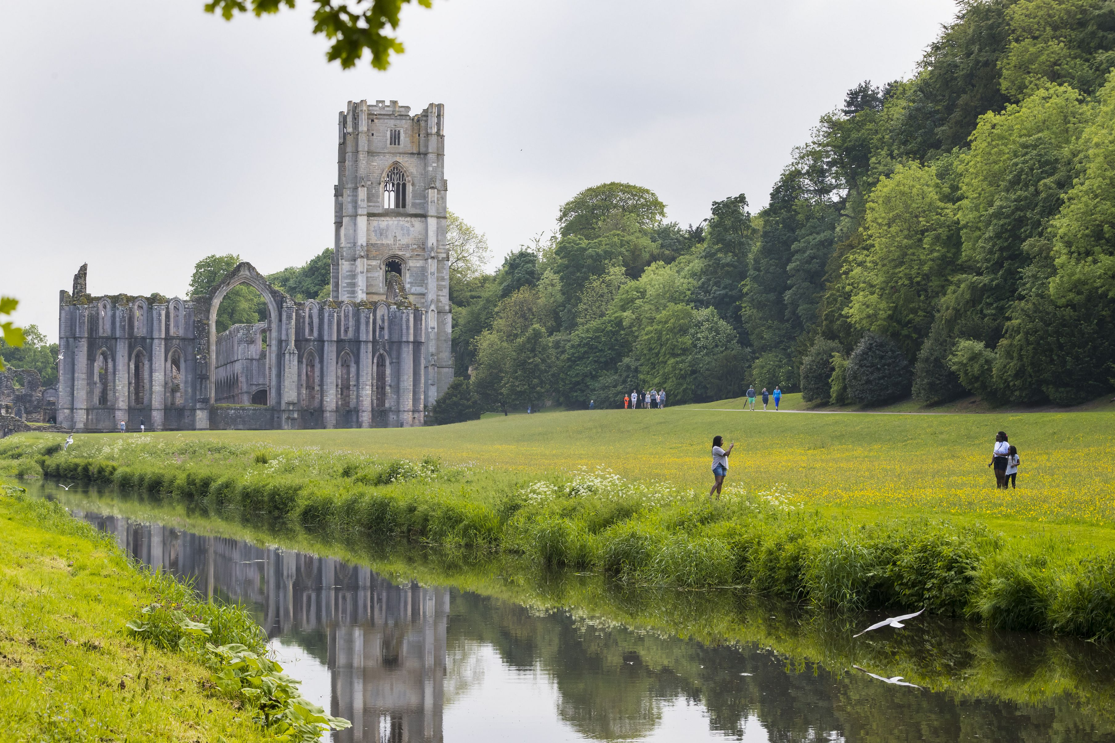 Family exploring Fountains Abbey and Studley Royal Water Garden, Yorkshire